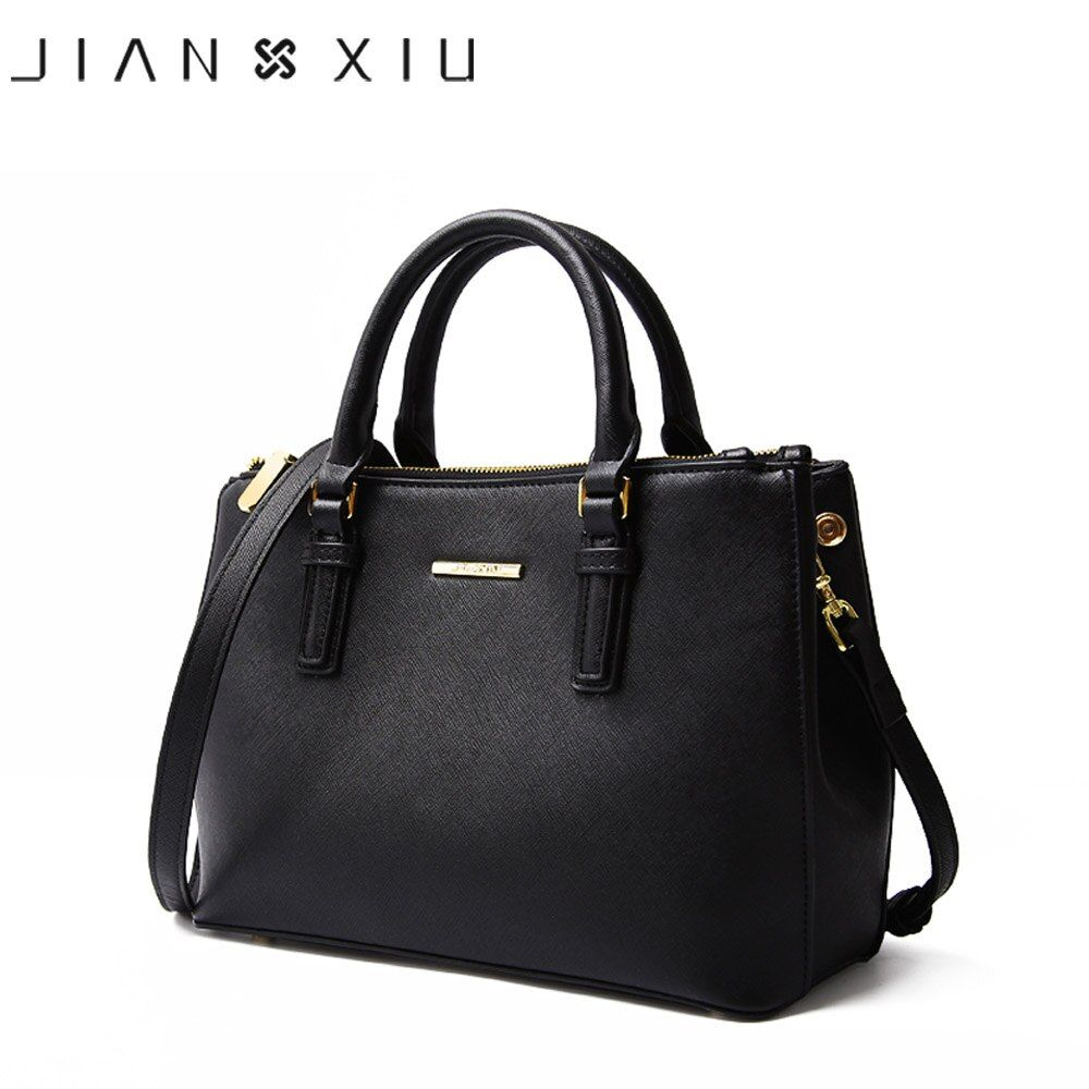 JIANXIU Brand Genuine Leather Handbag Luxury Handbags Women Bags Designer High <font><b>Quality</b></font> Cross Texture Shoulder Bag 2018 Big Tote