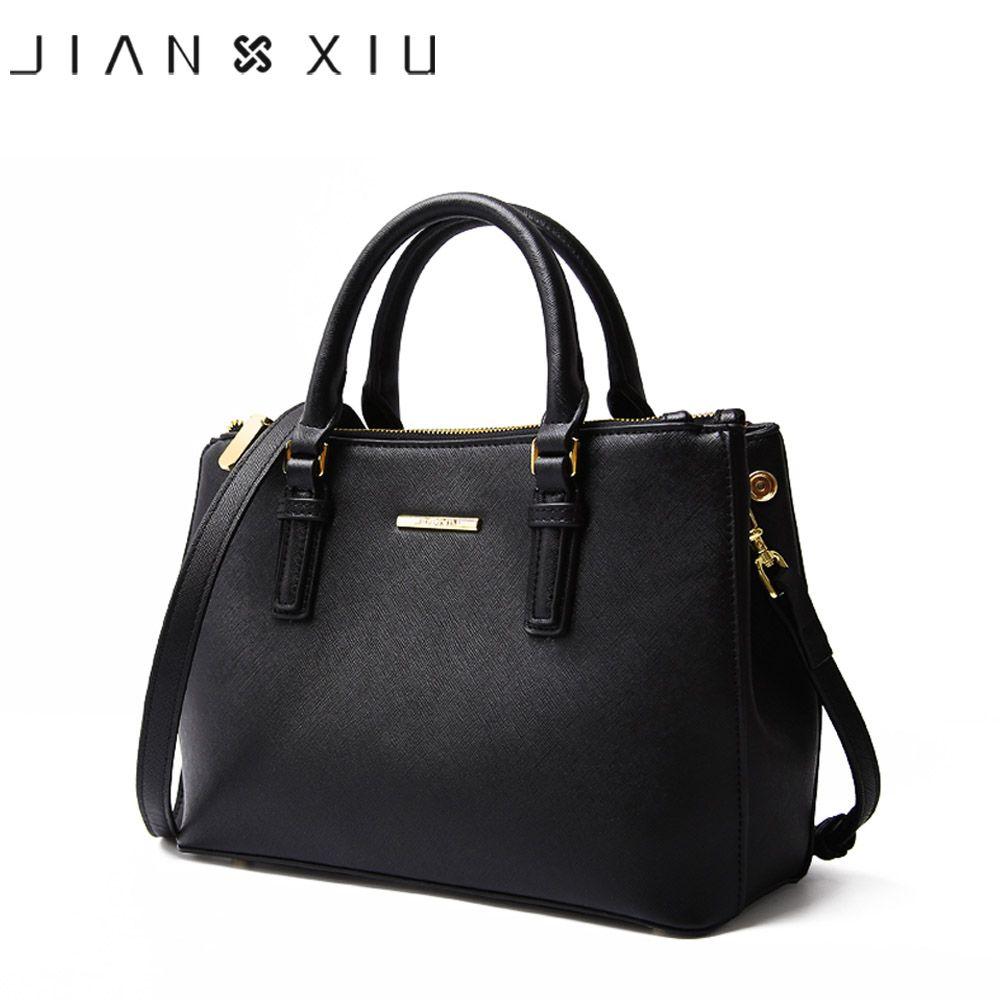 Jianxiu marca Cuero auténtico lujo mano Bolsas mujeres Bolsas diseñador alta calidad Cruz textura 2018 grande