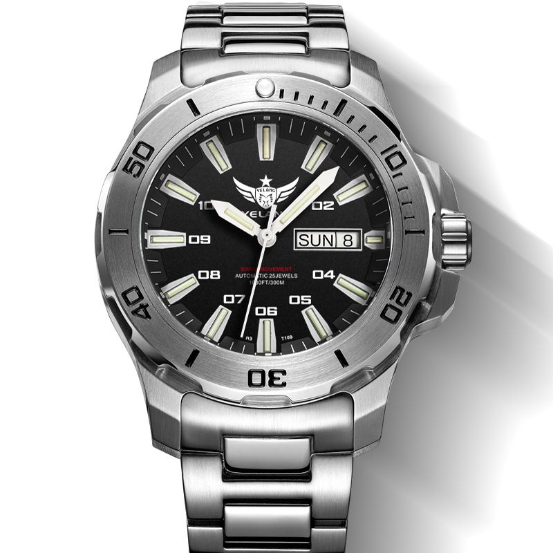 YELANG V5.1 KELPY mens Buceo 300 m Impermeable T100 Tritio Doble Calendario reloj Mecánico Automático con ETA 2836 Movimiento