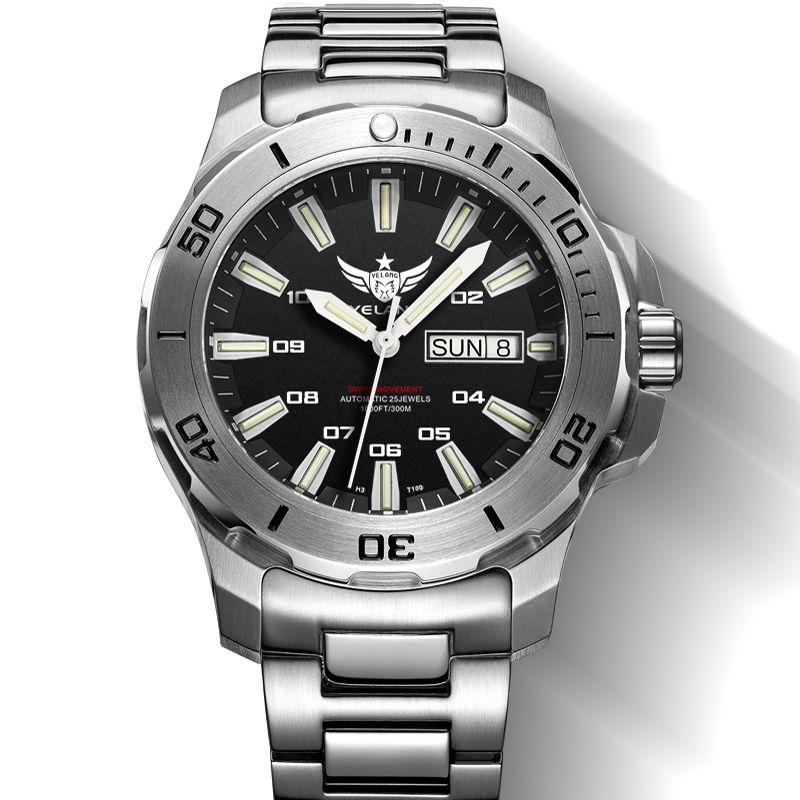 YELANG V5.1 KELPY mens Diving 300m Waterproof T100 Tritium Dual Calender Automatic Mechanical Wrist watch with ETA 2836 Movement