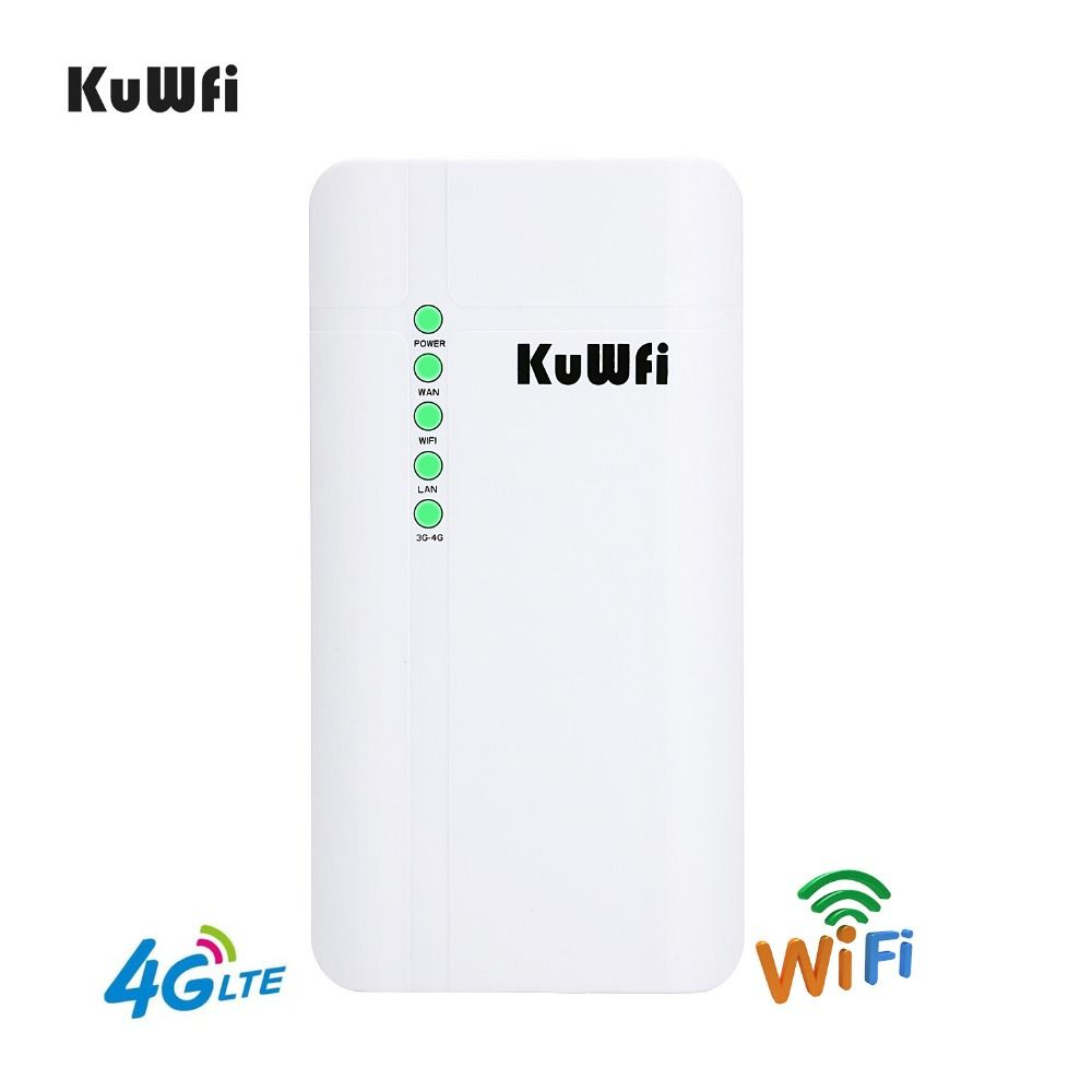 KuWFi Outdoor 4G LTE Wireless CPE Router 150Mbps Outdoor Waterproof CAT4 Wireless Router for Home/Office Support 32 Wifi users