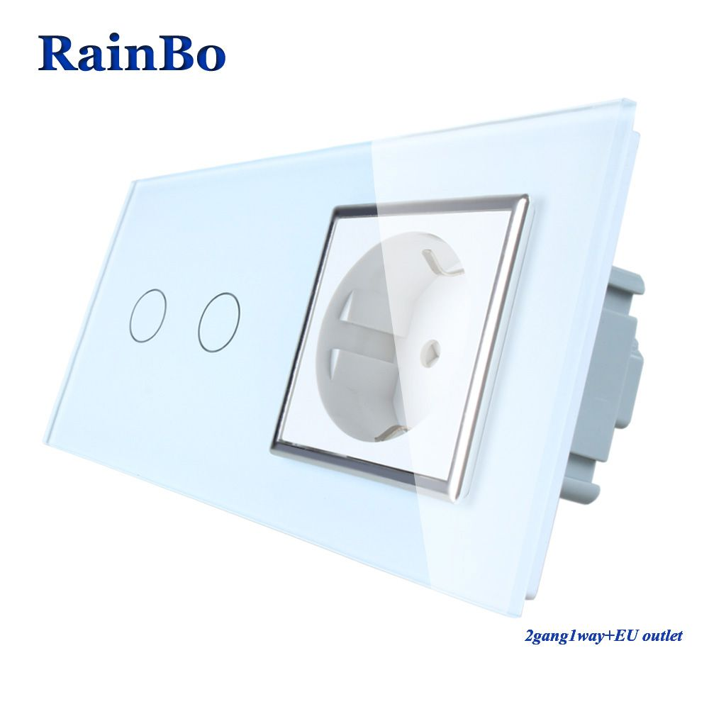 RainBo Brand Luxury  Touch Screen Control Tempered crystal Glass Panel Wall Light  Touch Switch Socket Wall Socket  A29218ECW/B