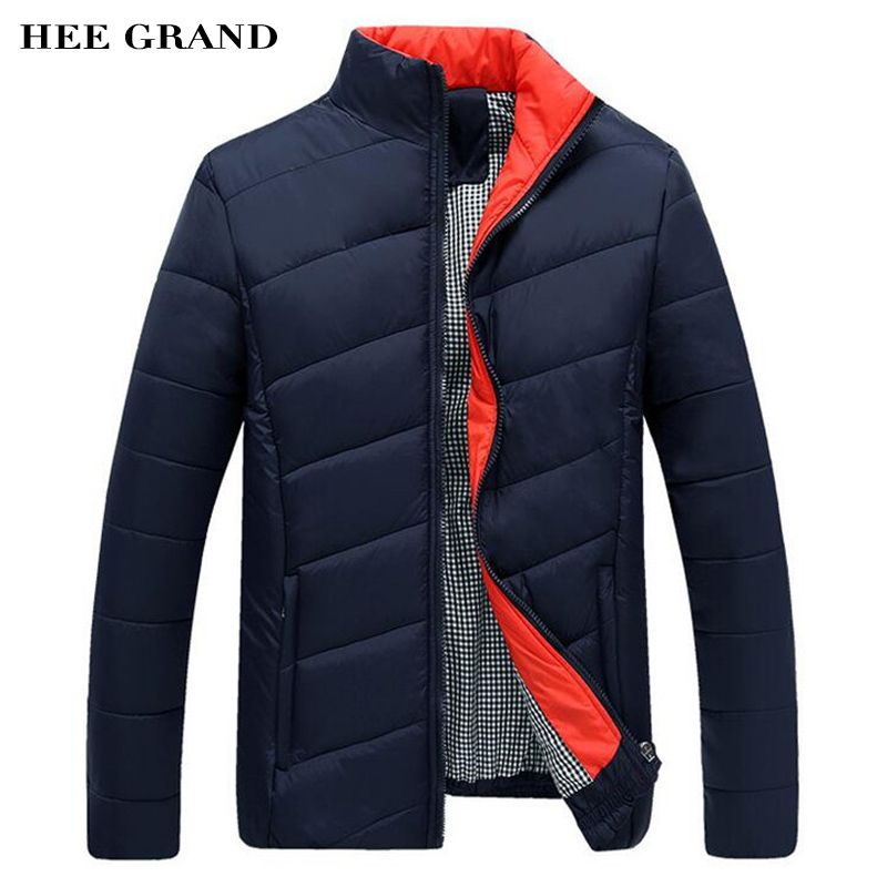 HEE GRAND Men's Winter Coat 2016 New Arrival Casual Men's Jacket Fashion Stand Collar M-3XL Size 4 Colors MWM902
