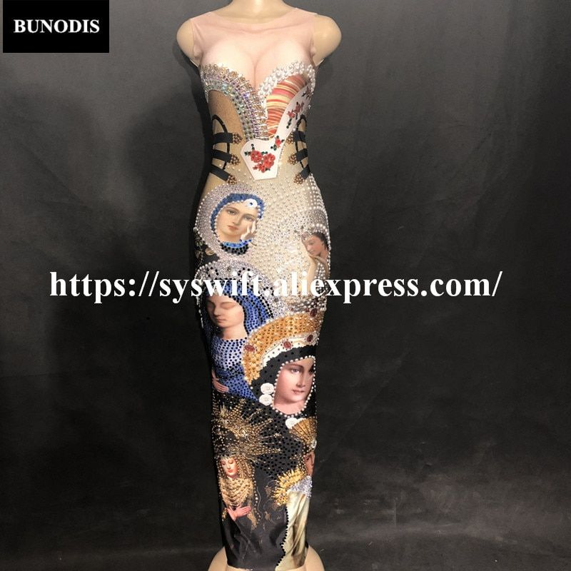 BU25201 Hot Sell Virgin Mary Sexy Sleeveless Bling Long Skirt 3D Printed Colorful Sparkling Fit Crystals Nightclub Party Banquet