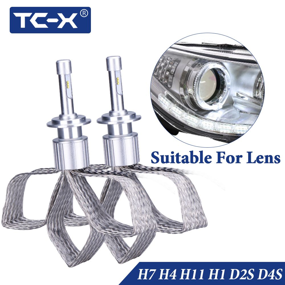 TC-X 2 PCS 7000LM/Set H1 H7 H4 H11 9005 9006 D2S D4S LED Headlights Copper Braiding HID Original Bulbs Replacement LED Car Light