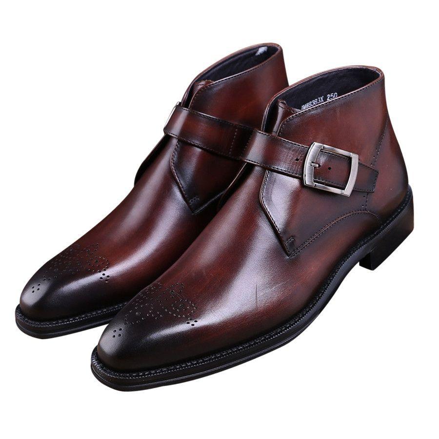 Мода Goodyear Welt обувь коричневый загар/черные мужские Ботильоны Платье из натуральной кожи сапоги мужские туфли с пряжкой