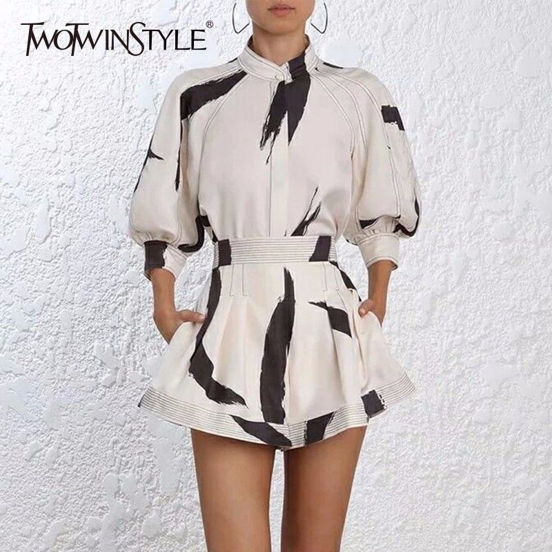 TWOTWINSTYLE Print Shirts Suits Womens Lantern Sleeve Pullover Tops With High Waist Flare Trousers Large Size 2018 Summer OL