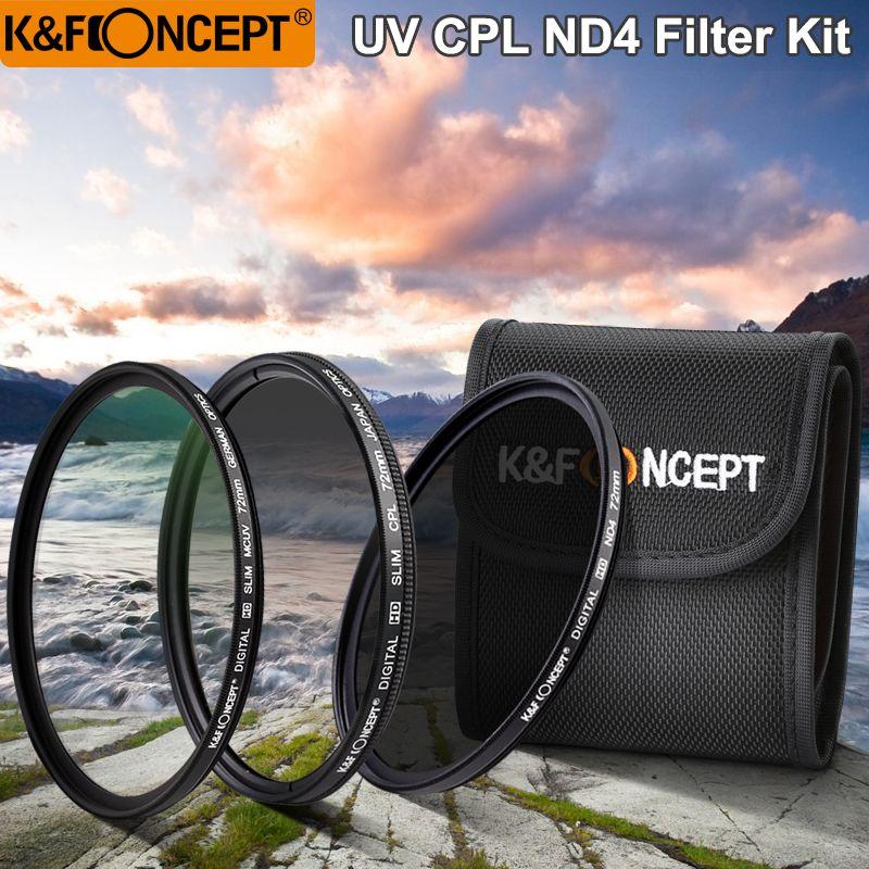 K & F CONCEPT UV + CPL + ND4 Lentille Filtre Sets + Pochette Filtrante/Sacs 52mm 58mm 62mm 67mm 72mm 77mm Pour Nikon Canon Sony Pentax DSLR Caméra