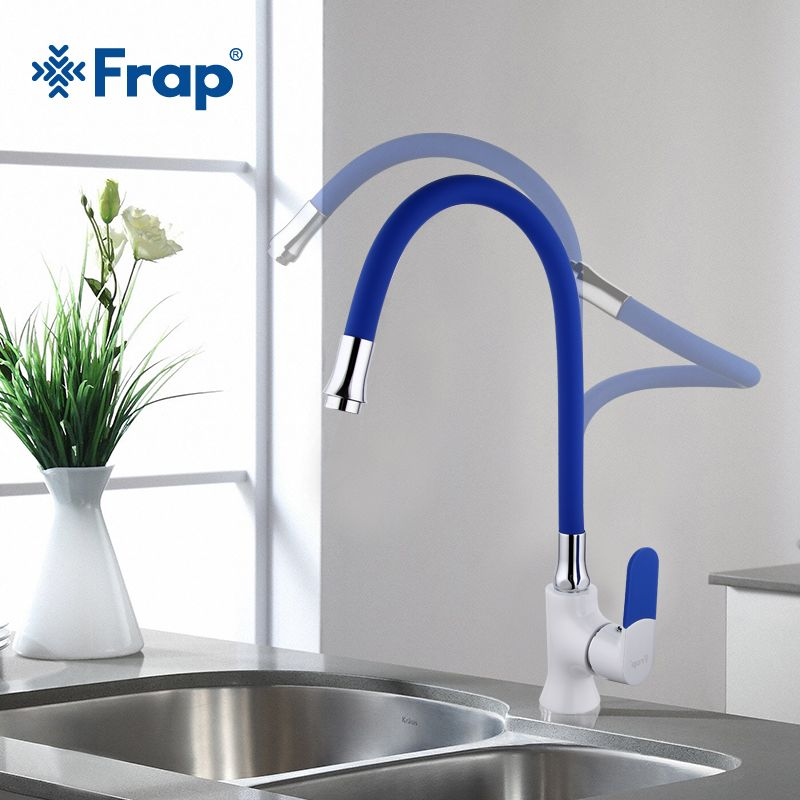 Frap Multi-color Silica Gel Nose Any Direction Kitchen Faucet Cold and Hot Water Mixer grifo cocina White Spray paint F4034