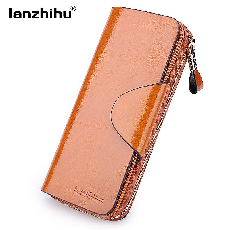 Genuine Leather Wallet for Women Female RFID Blocking Wallets Big Travel Zipper Women's Purse Ladies Long Phone Holder