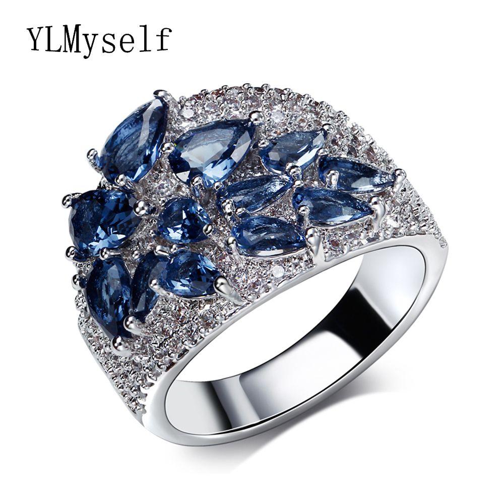 Кольцо в 5 цветов кубический цирконий Синий Зеленый Шампанское ясно и Siam cz камни, ювелирные изделия Модные яркие Кольца