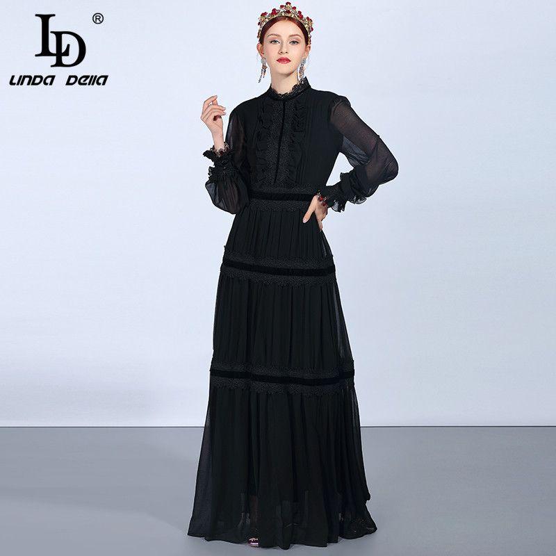 LD LINDA DELLA Fashion Runway Maxi Kleider frauen Langarm Spitze Patchwork Rüschen Vintage Schwarz Kleid Elegante Party Kleid