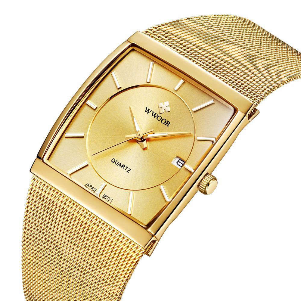 Marke Luxus Gold Männer Freizeit WWOOR Quarzuhr Männer Business Datum Uhr Männliche Edelstahl Sport Uhren Relogio Masculino