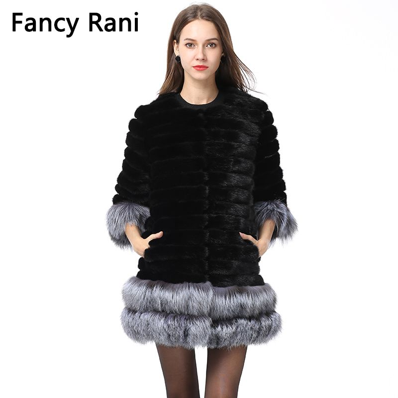Women Winter Real Mink Fur Coat With Fox Fur Sleeve Cuff/Hem Thick Warm Natural Fur Jacket Coat Fashion Lady Fur Long Waistcoats