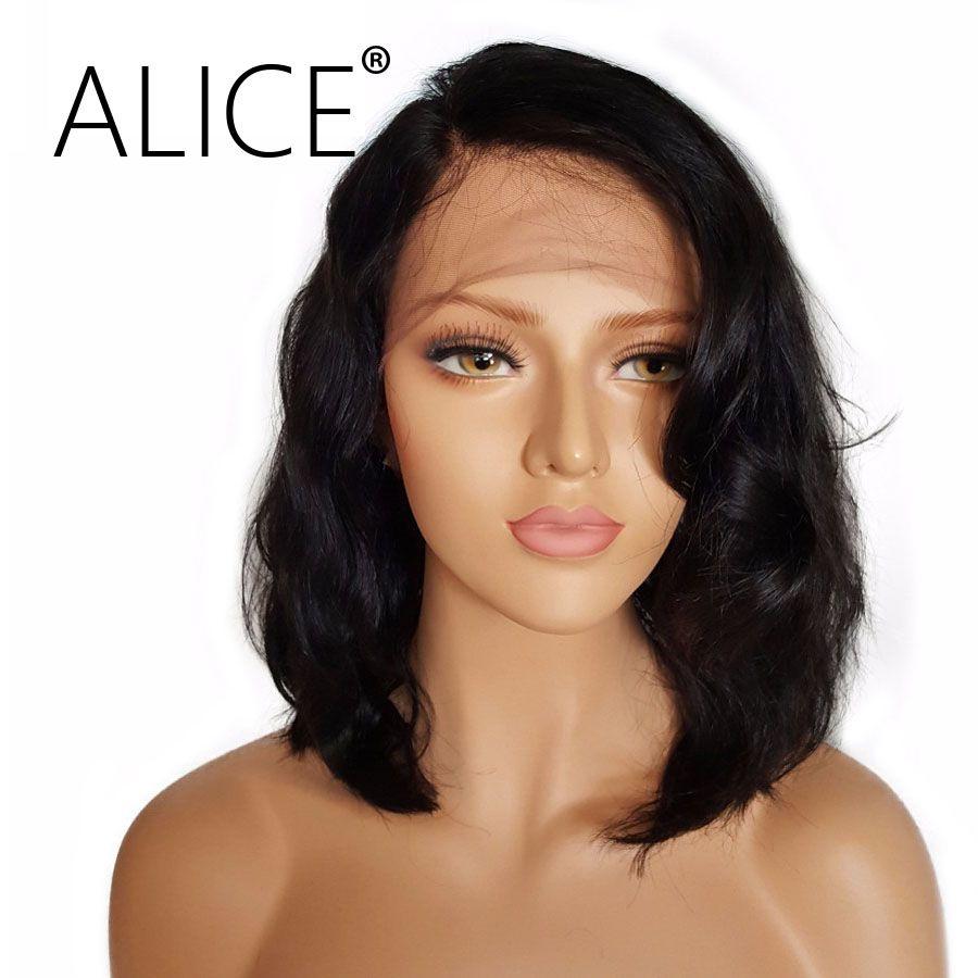 ALICE Kurzes Volle Spitze Echthaar Perücken Mit Dem Babyhaar Für alle Frauen Brasilianisches Jungfrau-haar Wellenförmige Spitze Perücken Für Alle Frauen