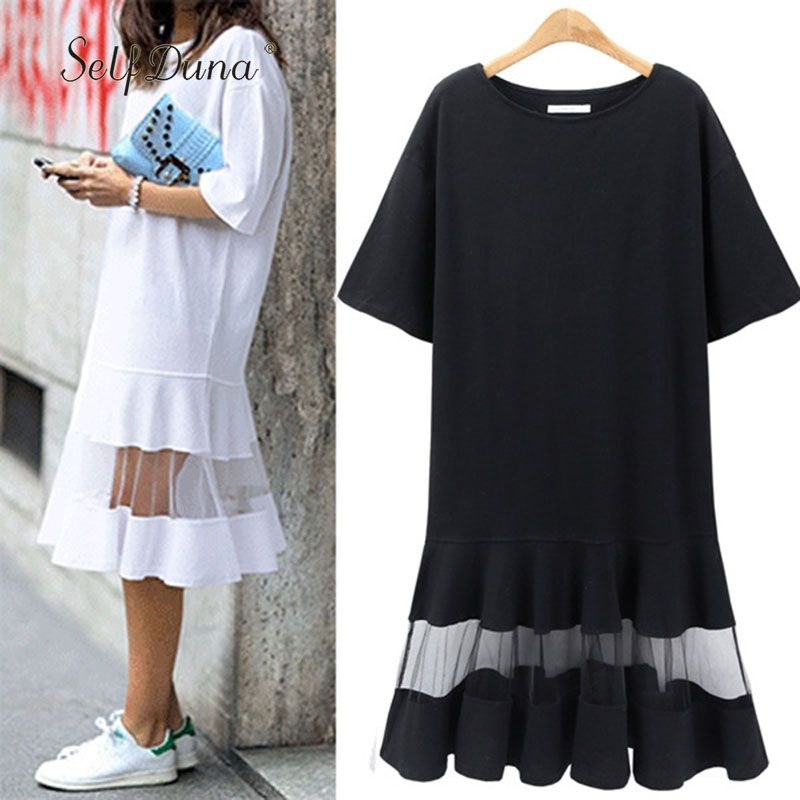 <font><b>Self</b></font> Duna 2018 summer Women Plus Size Dress 3XL 4XL XXXL XXXXL Shift Dress Loose Black White Mesh Short Sleeve T Shirt Dress