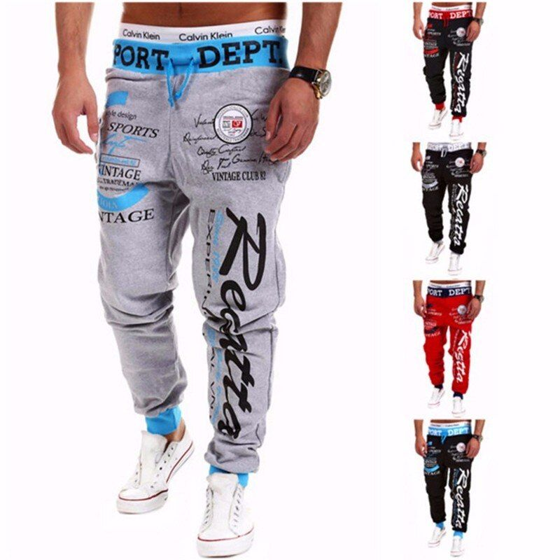 Pantalon 2018 Vente Chaude Baggy Hommes Lettre Impression Baggy Harem Frais Pantalon Long Joggers Wear Plus Size M-XXXL Cordon