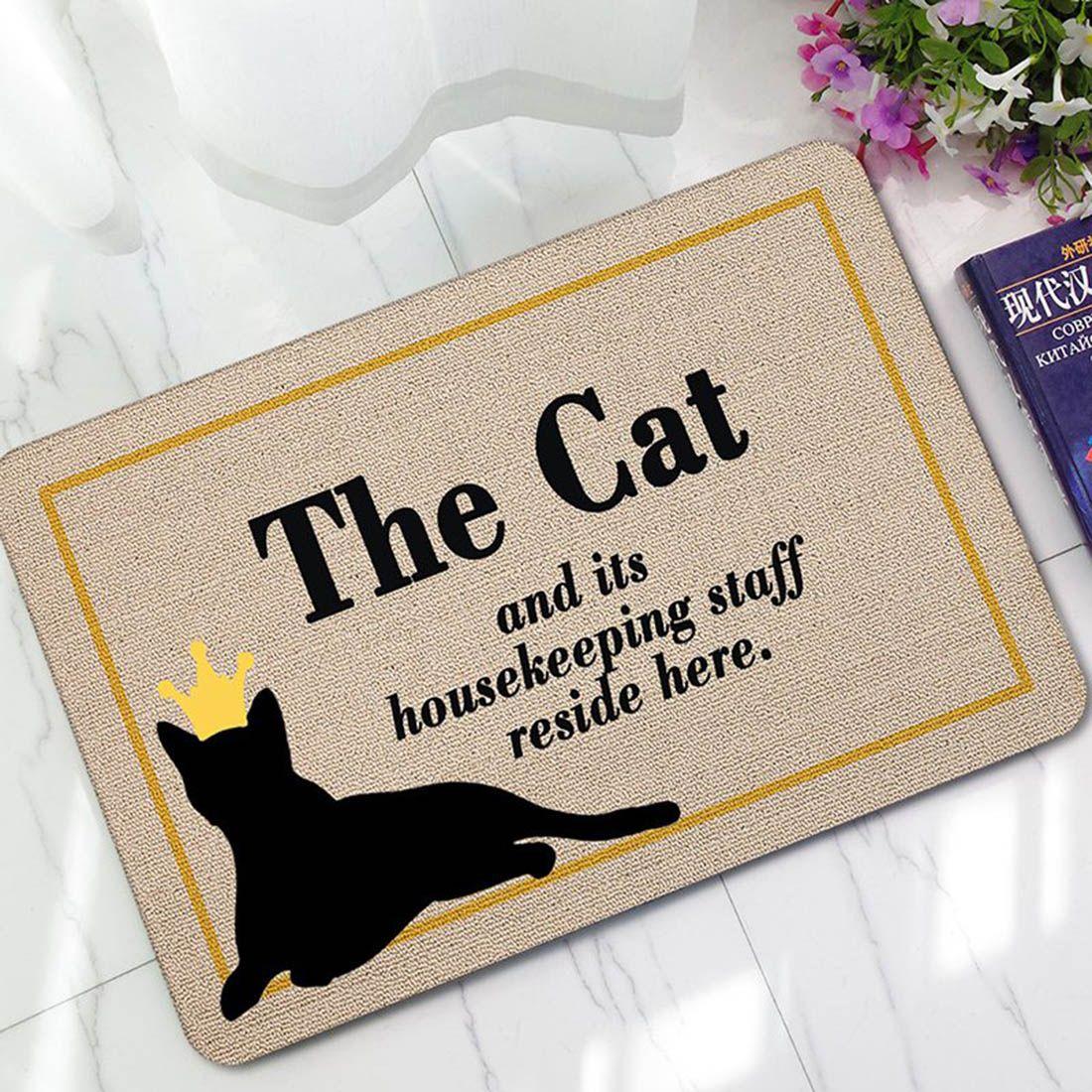 Cartoon Door Mat Cat Printed Non-slip Absorbent Foldable Doormat for Living Room Bedroom Carpet Home Door Floor Mats Pad