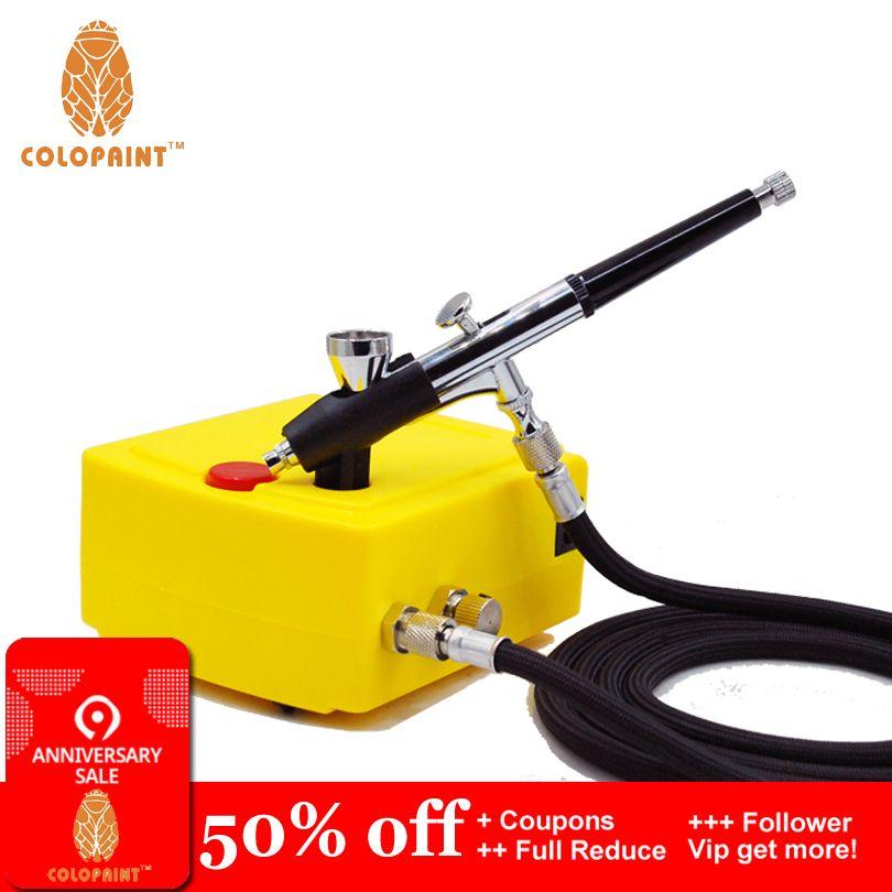 Colopaint aérographe compresseur Nail Art peinture Kits Nail Art équipement Nail Art décorations outils 0.2mm