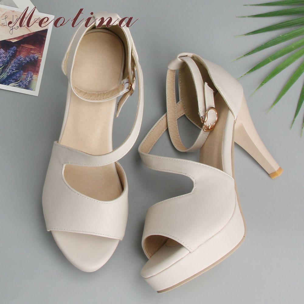 Meotina chaussures femmes chaussures d'été gladiateur sandales talons hauts sandales bout ouvert plate-forme dames chaussures Beige blanc grande taille 9 43