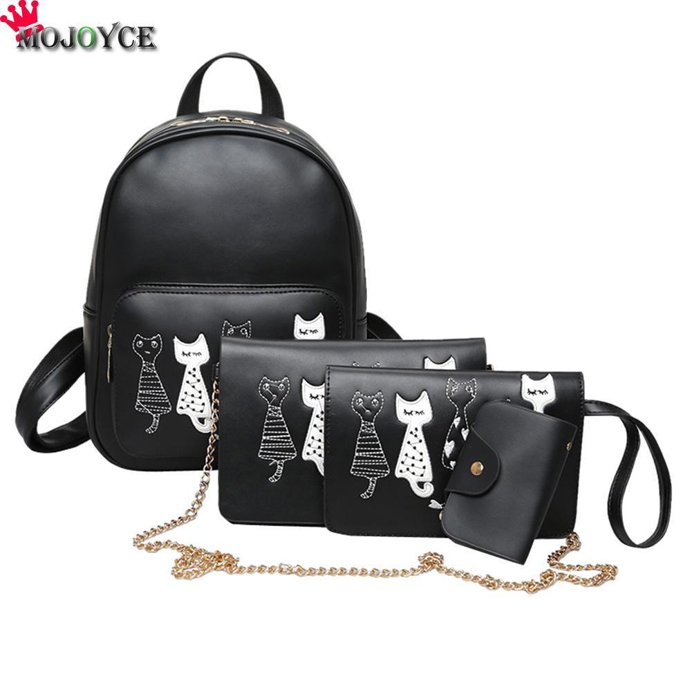 4pcs/Set Backpack Women Cat Printing Backpack PU Leather Bookbags School Backpacks Students Bags for Teenage Girls Bagpack Back