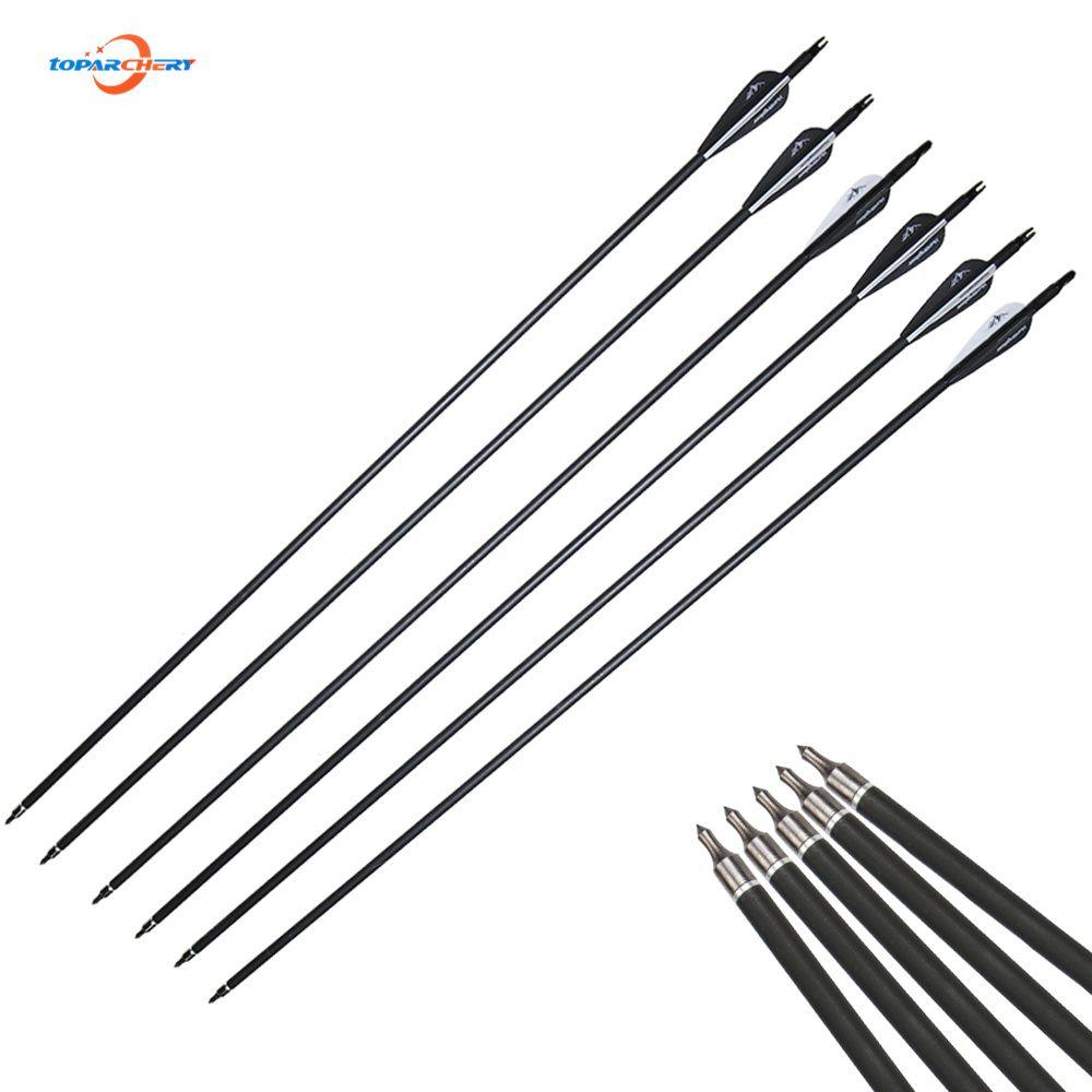 12 teile/los 30 zoll Wirbelsäule 500 flechas Carbonpfeil mit Schwarz und Weiß Farbe für 30-60lbs Recurve/Verbindung Bogen bogenschießen Jagd