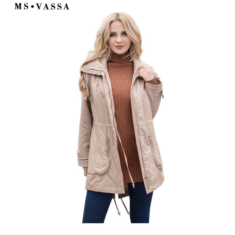 MS VASSA Women Trench Spring fashion trench coat ladies coat with adjustable waist plus size 5XL 7XL high quality outerwear