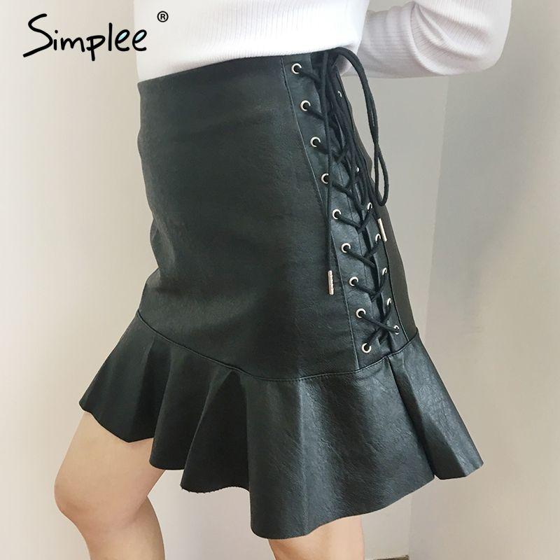 Simplee Side lace up short leather skirt High waist streetwear ruffle mini skirt womens bottom 2017 New autumn mini skirts