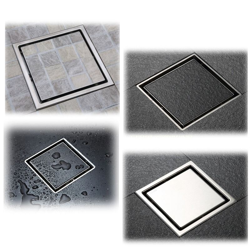 Anti-odor Bathtub Shower Drainer Floor Strainer 10x10cm 304 Stainless Steel Square Invisible Bathroom Floor Drain Waste Grate