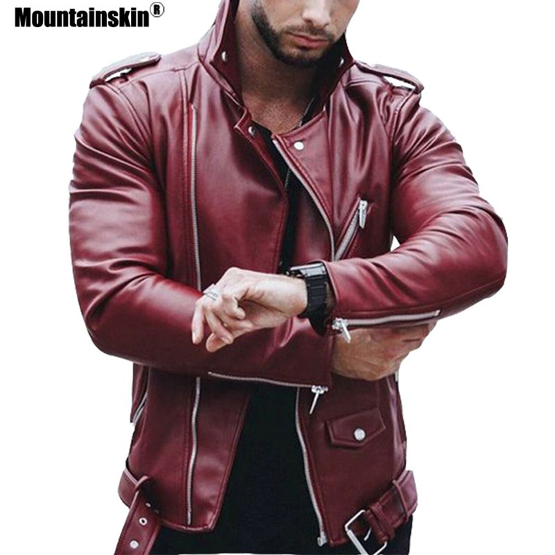 Mountainskin 5XL Men's PU Jackets Autumn Faux Leather Coats Male Motorcycle Jacket Slim Fit Fashion Mens Brand Clothing SA599