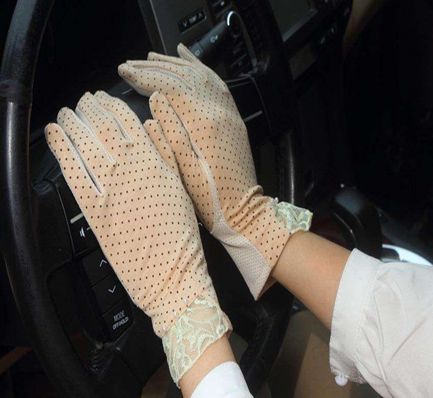 Respirant dentelle de glace printemps et automne élastique à main mince court lady gants de protection solaire d'été anti-dérapage tactile écran pour drivi