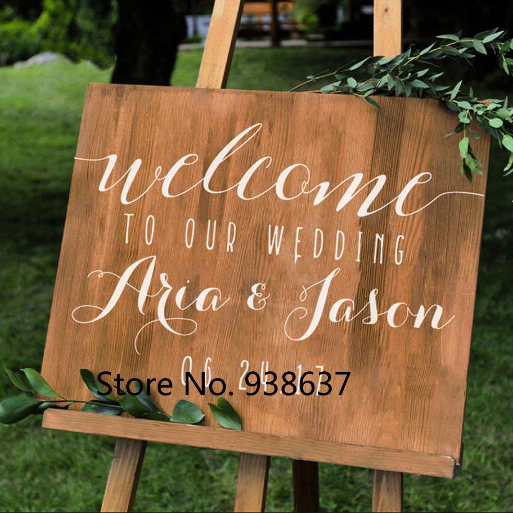 Simple vinyle sticker mural pour mariage personnalisé mariage bienvenue signe noms Date bricolage tableau de mariage autocollants miroirs décor ZB132