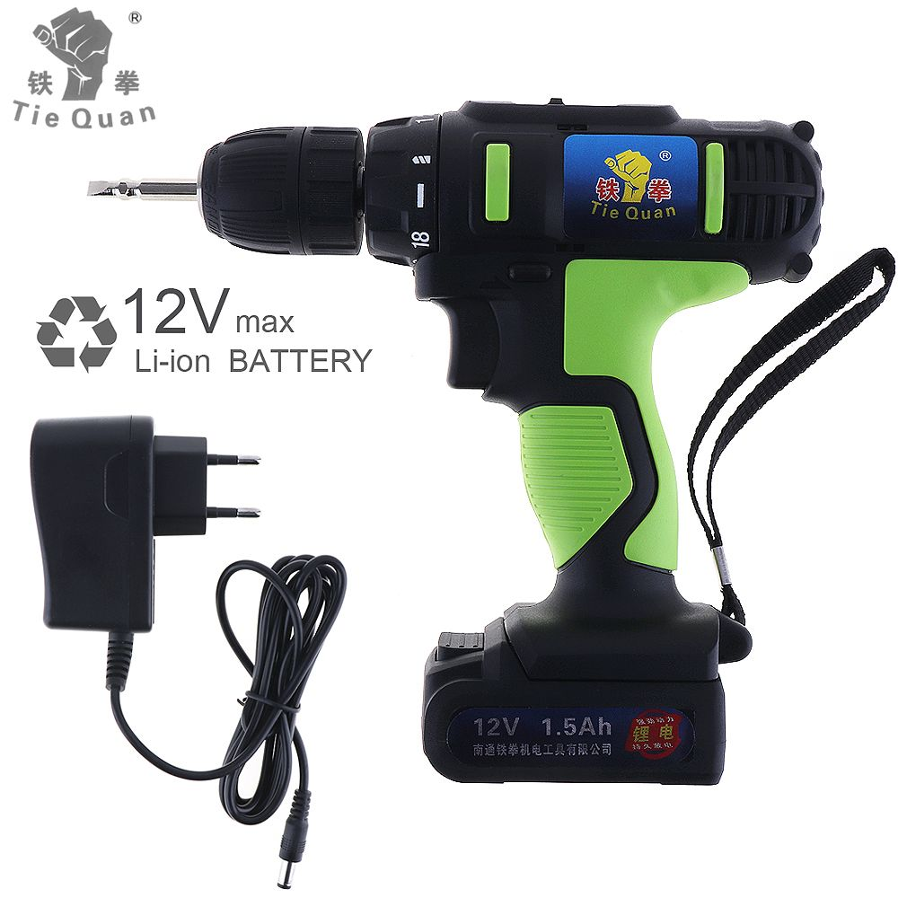 AC 100 - 240V Cordless 12V Electric Drill / Screwdriver with 18 Gear Torque and Two-speed Adjustment Button Electric tools