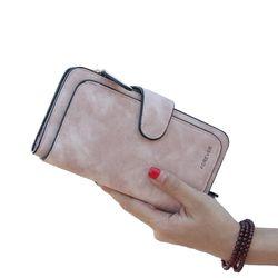 Nueva marca de cuero mujeres Cartera de alta calidad de diseño del cerrojo color sólido tarjeta Bolsas larga Mujer monedero 4 colores señoras embrague carpeta