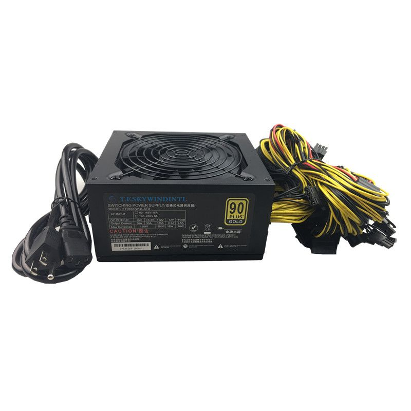 T.F.SKYWINDINTL 2000w Power Supply 2000W mining power supply 110V For Ethereum Coin computer Mini Machine Power Source 24pin psu