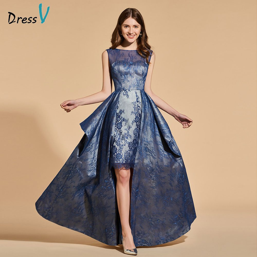 Dressv 2018 elegant long prom dress sleeveless simple a-line asymmetry backless evening party gown prom dresses customize