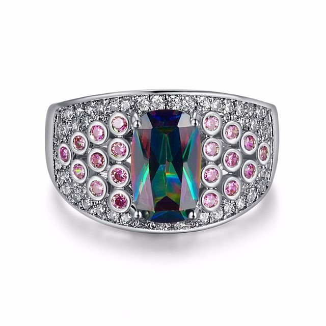 Hot Unique Design Big Purple Rainbow CZ Rings Women Fine Jewelry Gift Silver Ring