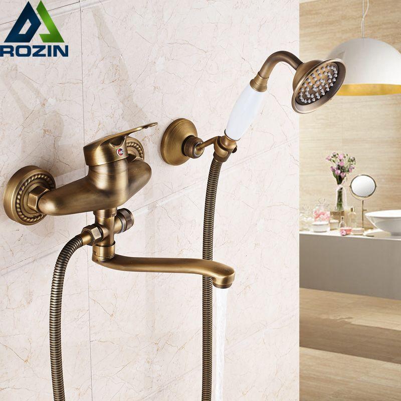 Bathroom Mixer 16/20/25 cm Brass Long Nose outlet shower faucet Single Handle Wall Mounted Bathtub Sink Faucet Taps