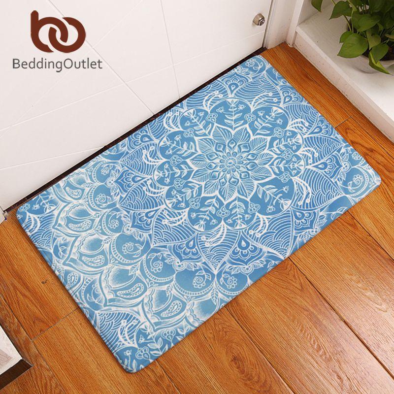 BeddingOutlet Bohemian Mandala Flower Carpet Polyester Rug Non-slip Floor Mat DoorMat For Bedroom Bathroom Kitchen Door 40x60cm
