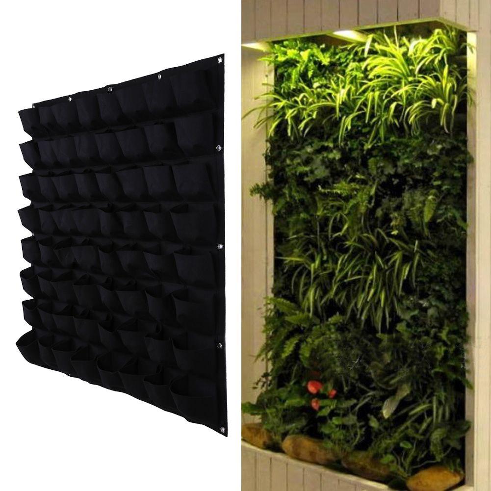 64 Pocket Plant Pot Vertical Garden Hanging <font><b>Green</b></font> Wall Planters Large Garden Pots for Balconies 100cm*100cm