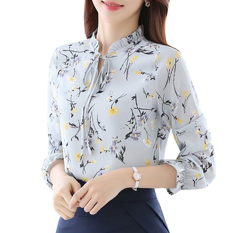 Blusas Femmes Tops Blouses Dames de Mousseline de Soie À Manches Longues Floral Shirt Femmes Slim Camisas Mujer Plus La Taille Chemise Femme Blanc Noir