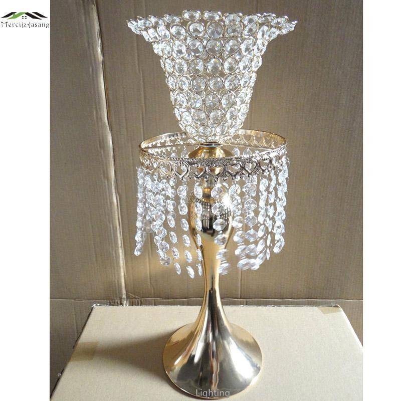 Neue Metall Verchromt Kerzenhalter Mit Kristallen 52 CM/21 ''Straße Führen Stehen Säule Kerzenhalter Für Hochzeit leuchter 01102