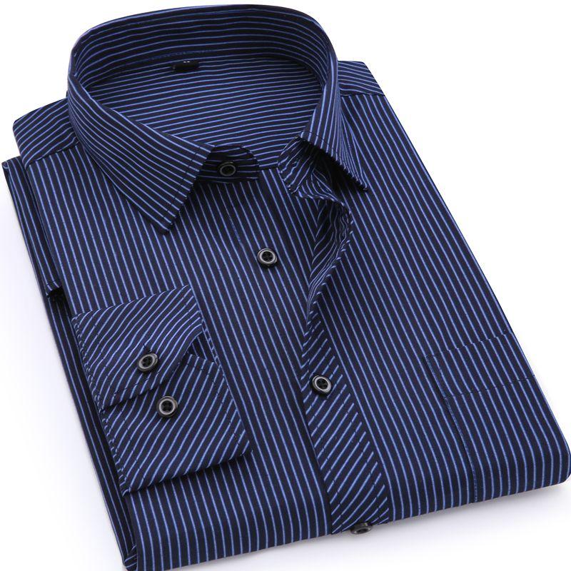 Plus <font><b>Large</b></font> Size 8XL 7XL 6XL 5XL 4XL Mens Business Casual Long Sleeved Shirt Classic Striped Male Social Dress Shirts Purple Blue