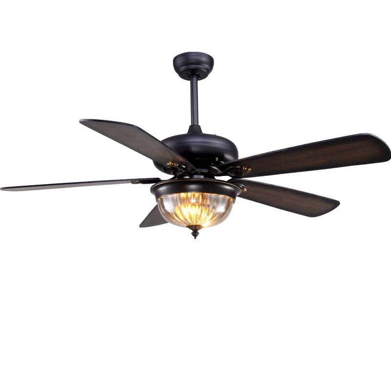 LukLoy Restaurant Ceiling Fan Pendant Light Living Room American Retro Industrial Remote Control Antique Wood Leaf Fan Lamp