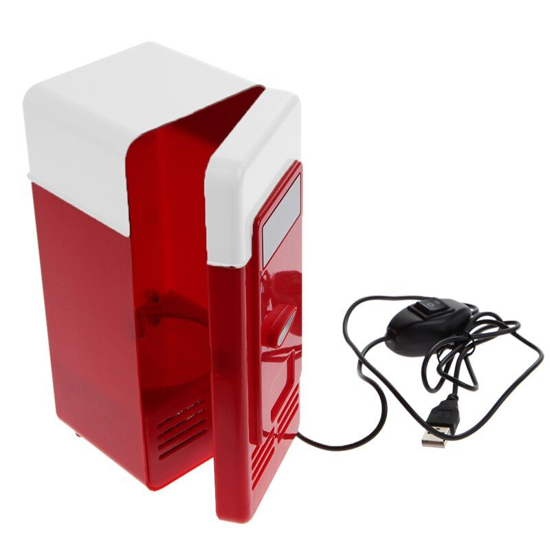 Desktop Mini USB Gadget, Getränkedosen Kühler Wärmer Kühlschrank Mini-kühlschrank mit Internen LED-Licht usb kühlschrank