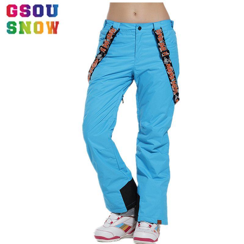 Gsou Snow Brand Ski Pants Women Waterproof Snowboard Pants Breathable Skis Trousers Winter Outdoor Sport Mountain Skiing Pants