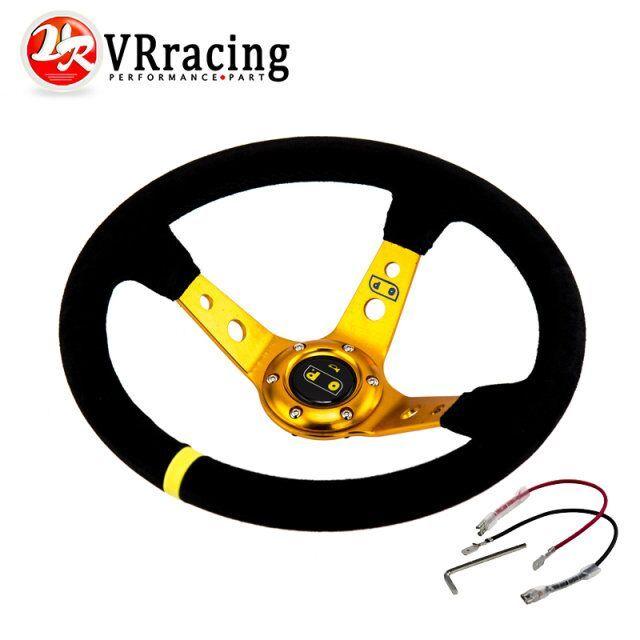 VR RACING - GOLD Steering wheel ID=14inch 350mm OMP Deep Corn Drifting Steering Wheel / Suede Leather Steering wheels VR-SW21G