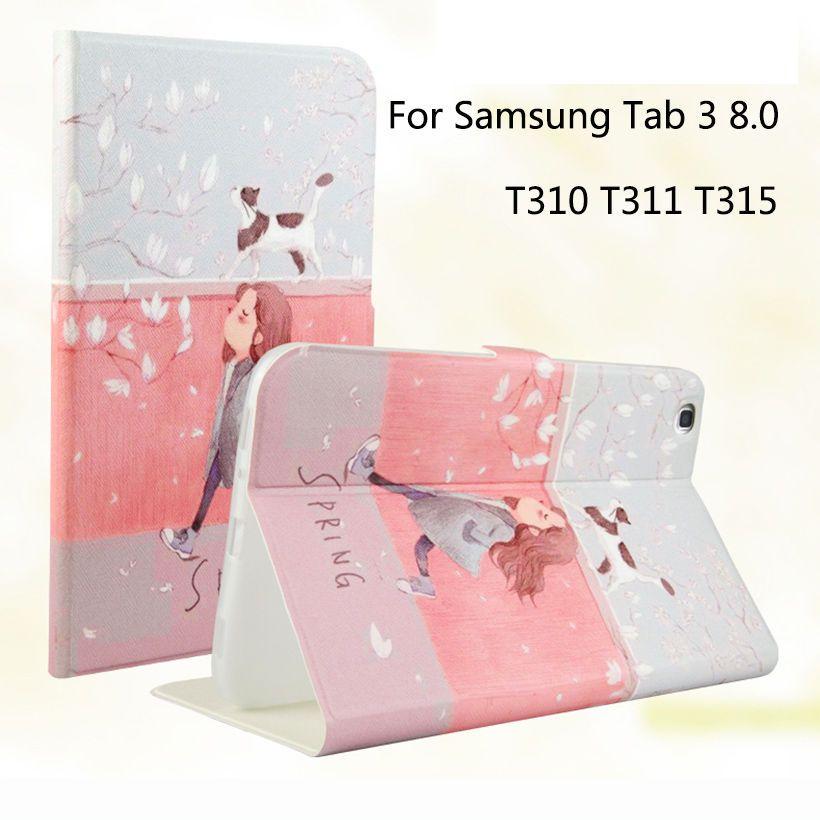 Tablette étui pour samsung Galaxy Tab 3 8.0 SM-T310 T311 T315 Intelligent Housse D'impression De Bande Dessinée En Silicone TPU + Coque En Cuir PU Funda