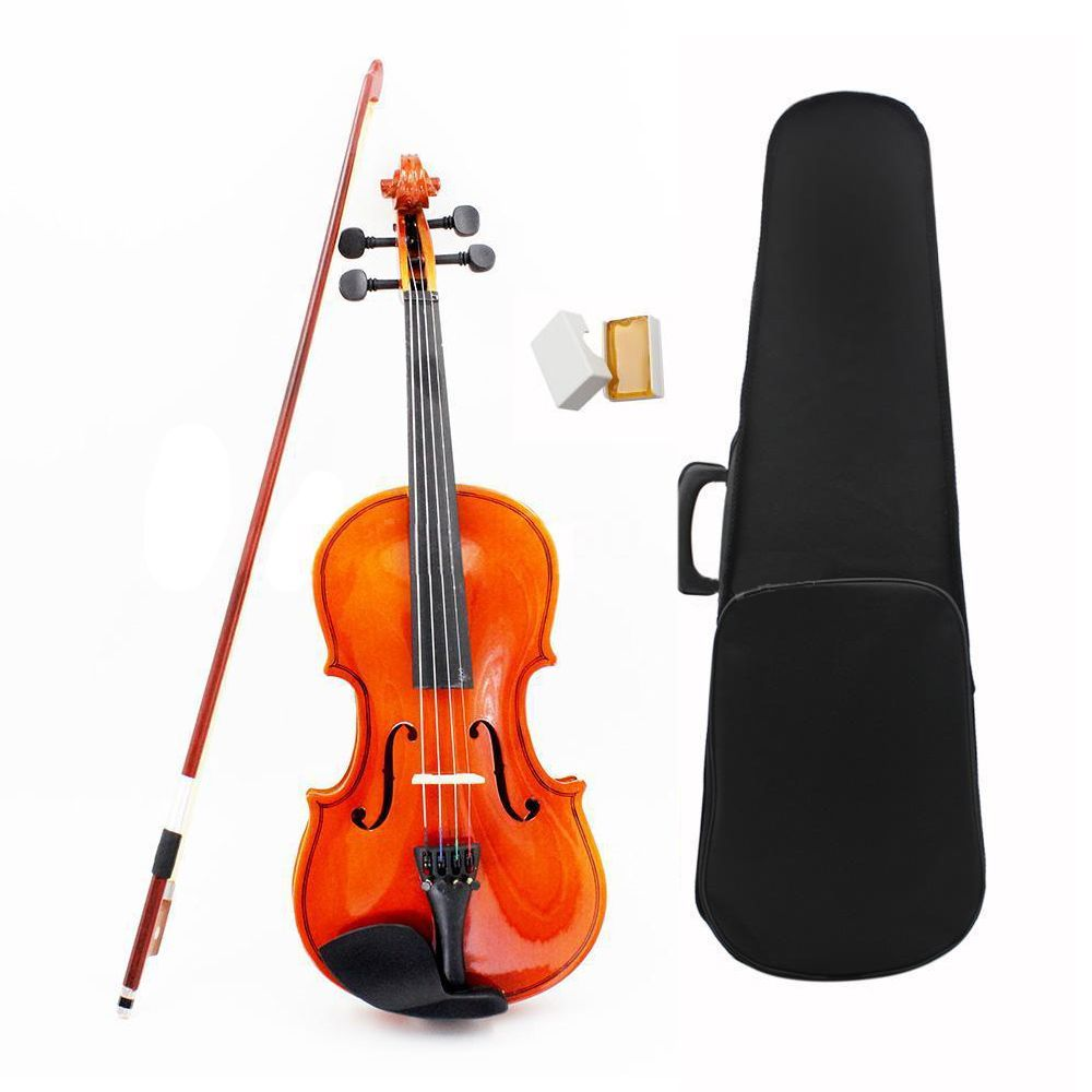 ADDFOO 1/8 Size Acoustic Violin with Fine Case Bow Rosin for Age 3-6 M8V8