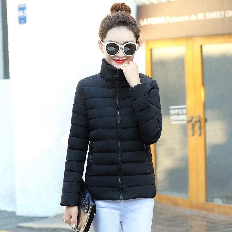 2017 winter cotton short paragraph feather thin cotton padded jacket cute Korean jacket women's clothing FREE